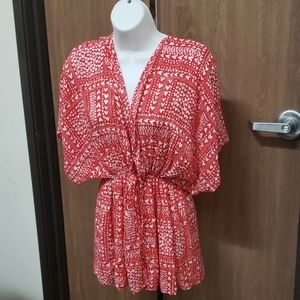 Victoria's Secret Red White Heart Kimino Robe OS
